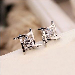 Jewelry - Silver Square CZ Earrings